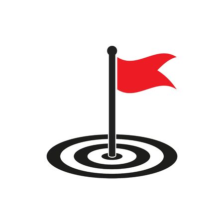 Flag or target icon isolated on white background.Vector isolated black icon. Goal concept icon. EPS 10