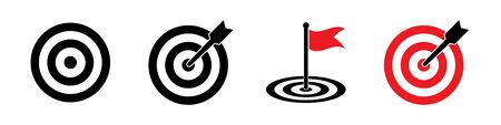 Targets set of icons isolated on white background. Black vector signs. Vector isolated black icons. Goal concept icons. EPS 10