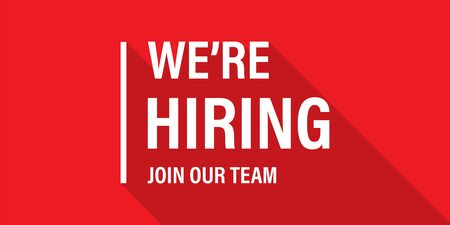 We're hiring red vector banner. Employee vacancy announcement. Illustration isolated. Business recruiting concept. EPS 10
