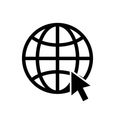 Globe earth vector icon with pointer isolated on white background. Global network. Globe sign. Black isolated vector globe world vector icon. EPS 10 Ilustracja