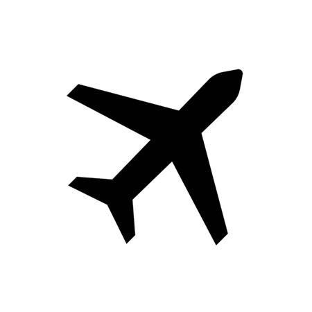 Plane vector icon Isolated element. Black plane vector icon. Black flight airplane sign symbol. Abstract plane template. EPS 10