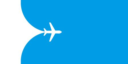 Plane fying on blue sky vector illustration. Travel tourism transport concept. Passenger aircraft. Jet commercial plane. Airplane fly. EPS 10
