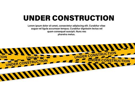 Under construction tape or ribbon banner. Yellow vector illustration. Black vector attention caution sign. Yellow warning tape. Warning attention sign. Attention caution illustration. EPS 10