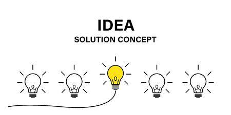 Idea creative concept. Vector isolated success illustration. Lamp idea business concept. Power energy. Brain light bulb icon vector. EPS 10