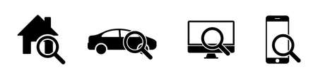 Search house car computer phone isolated icons. Vector icon collection. Internet search signs. Search vector icon phone. EPS 10