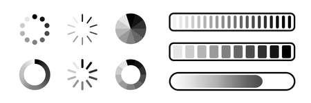 Loading process bar vector isolated elements on white background. Vector loading processing signs. Process bar indicators.