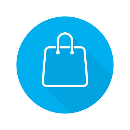 Bag shopping vector isolated icon on blue circle background. Flat design illustration. Line shopping bag icon. Eco bag icon. EPS 10