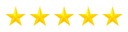 Five stars. Vector isolated icon. Classic rank concept. Customer product rating review. Customer service rating.