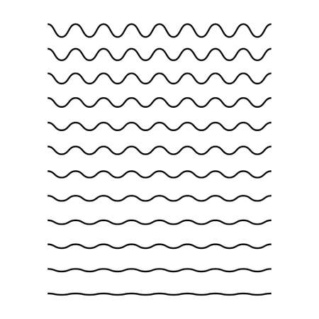 Wavy lines. Isolated vector waves collection on white background. Sea ocean black lines. Abstract wave amplitude. EPS 10