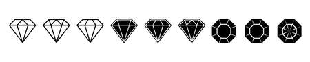 Diamond brilliant. Vector icon collection. Vector black diamonds collection. Linear outline sign. Diamond shapes gemstone.