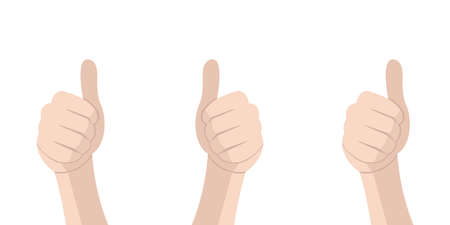 Hand with thumb. Feedback concept. Vector isolated illustration. Congratulate winner vector design illustration. Vector Thumbs up. EPS 10 向量圖像