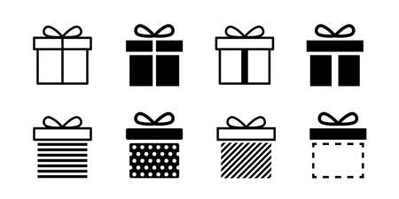 Present gift box icon. Vector isolated elements. Christmas gift icon dotted illustration vector symbol. Surprise present linear design. Stock vector. EPS 10