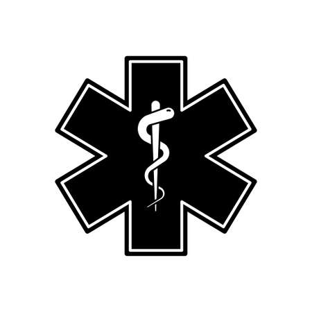 Emergency medical symbol. Vector isolated medical sign icon with snake. Medical star symbol. Star of life sign. EPS 10 向量圖像