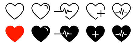 Heart icons isolated vector signs. Collection of vector heartbeats signs or linear icons. Cardiogram heart concept.