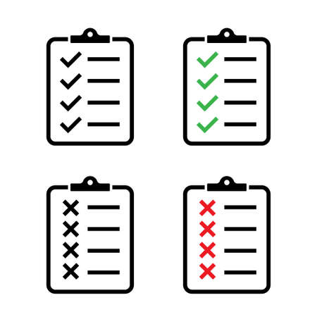 Clipboard vector icons isolated. Task done sign.  Green check mark icons symbol.Tick symbol. Red cross tick. EPS 10