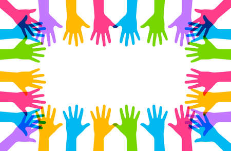Hands up. Vector isolated illustation. Raised vector colored hands. Volunteering education business concept. EPS 10 向量圖像