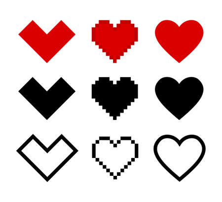 Hearts vector pixel icons isolated on white background. Vector illustration. Love symbol black isolated vector signs. Red flat design. EPS 10