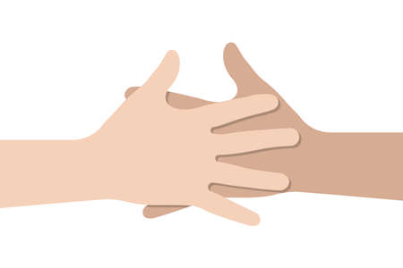 Two hands helping. Handshake vector icon. Business concept flat design.