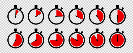 Timers icon on transparent background. Isolated vector elements. Stopwatch symbol. Vector countdown circle clock counter timer. Fast time icon. Circle arrow icon. EPS 10 向量圖像