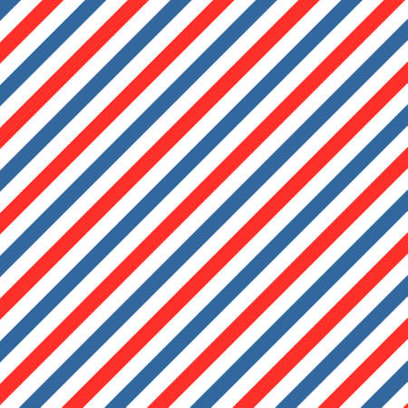 Barber colored liner background. Blue red vector pattern. Diagonal stripe pattern. EPS 10