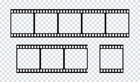 Film strip icon. Vector isolated element. Film strip roll black icon. Video tape photo film strip frame vector. EPS 10