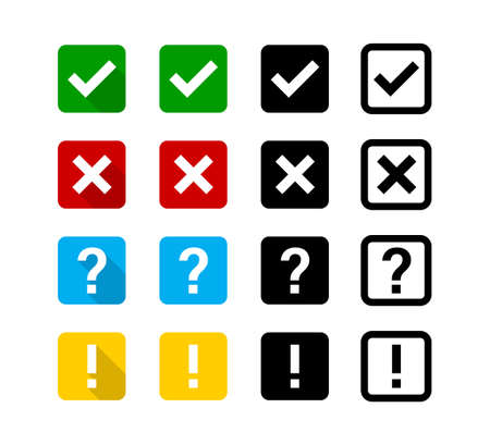 Checkmark cross question exclamation sign or mark. Isolated vector signs symbols. Checkmark icon set.  Flat vector collection of icons.  EPS 10