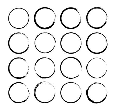Grunge circle brush. Vector isolated web elements. Ink frames set. Black abstract grunge circle. Vector brush stroke. Stock vector. EPS 10