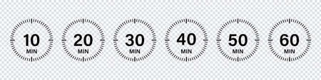 Timer chronometer countdown set. Vector isolated collection digital elements. Stopwatch black vector set. Clock or watch isolated vector collection. EPS 10