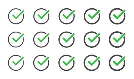 Green check mark icon set isolated vector elements. Tick approved symbol. EPS 10 向量圖像