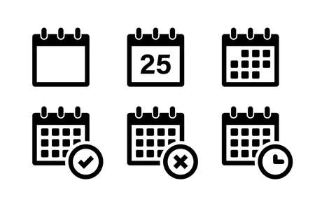 Calendar icons. Vector isolated elements. Callendar vector symbol. Stock vector. EPS 10
