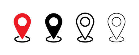 Pin location icon. Vector isolated element. Set of location pointer icons. Stock vector. EPS 10