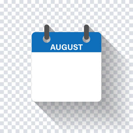 Calendar daily flat August month. Vector isolated illustration.Calendar personal organizer mockup in flat design. Stock vector. EPS 10