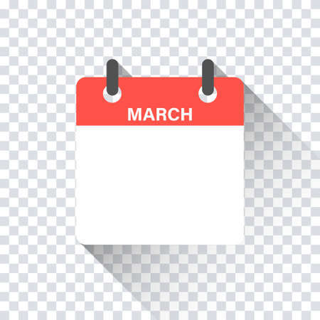 Calendar daily flat March month. Vector isolated illustration.Calendar personal organizer mockup in flat design. Stock vector. EPS 10