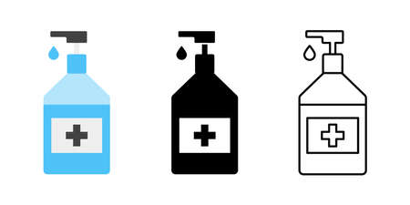 Sanitizer icon collection. Vector isolated sanitizer collection. Antibacterial hand sanitizer gel icon or sign line with drop. Stock vector. EPS 10