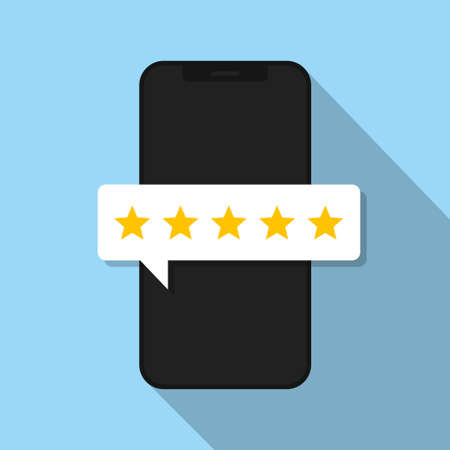 Phone with bubble rating. Vector isolated illustration. Quality stars rating. Feedback concept. Positive review.  5 stars assessment of customer in flat style. Stock vector. EPS 10