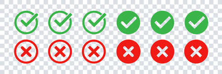 Green check mark and red cross icon set. Vector isolated elements. Tick approved symbol. Stock vector. EPS 10 向量圖像