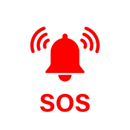 SOS bell icon. Vector isolated emergency alarm help sign symbol. SOS signal. Stock vector. EPS 10