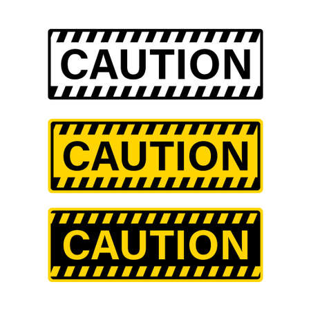 Caution attention yellow sign. Vector isolated signs. Stock vector. EPS 10 向量圖像
