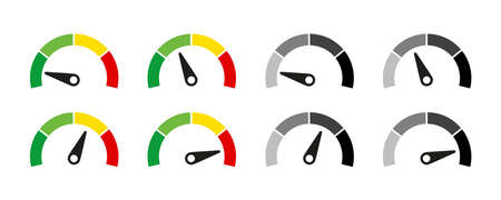 Speedometer or customer indicators of satisfaction. Vector isolated illustration. Rating satisfaction concept. Credit rating indicator. EPS 10 Vector Illustration