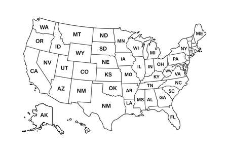 USA map states. Vector line design. High detailed USA map. Labeled with postal abbreviatations. Stock vector. ESP 10 矢量图像