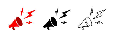 Megaphone icon. Vector isolated megaphone linear icon template. Megaphone vector illustration in different styles. Stock vector. EPS 10