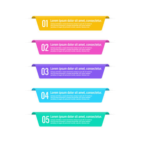 Infographic banner lapel steps. Vector isolated elements. Numbers 5 options or steps.  Vector infographic banner. Stock vector. EPS 10