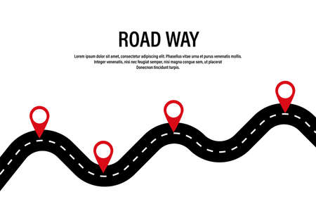 Winding road. Road way location infographic with pointers. Vector road concept design. Stock vector. EPS 10