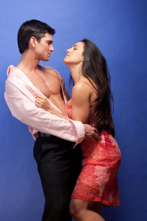 The couple pose together for the photo. Archivio Fotografico