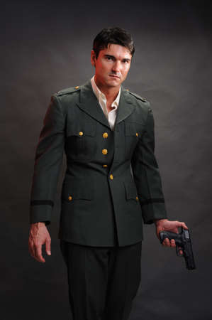 The military man poses for the photo. Stock Photo