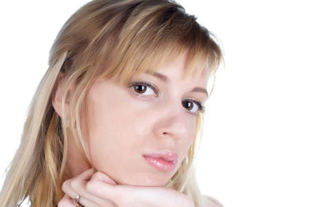 russian ethnicity caucasian: Portrait of the beautiful girl close up Stock Photo