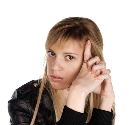 eastern european ethnicity: Portrait close up of the girl in a black jacket on a white background