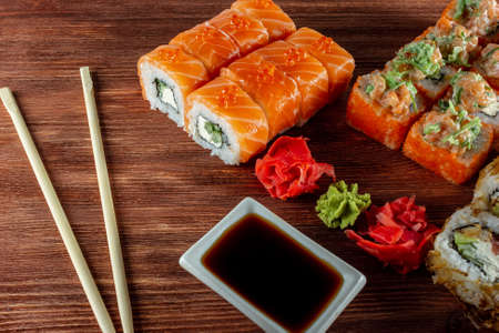 sushi rolls with caviar salmon and cheese Philadelphia