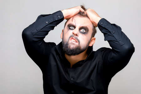 makeup for a bearded man for the feast of all saints Halloween in the style of the undead Standard-Bild