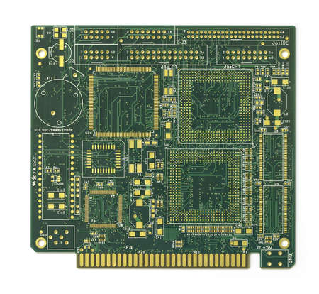 Computer circuit boards against white background photo
